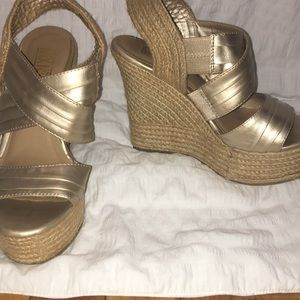 Gold and Rope platform wedges